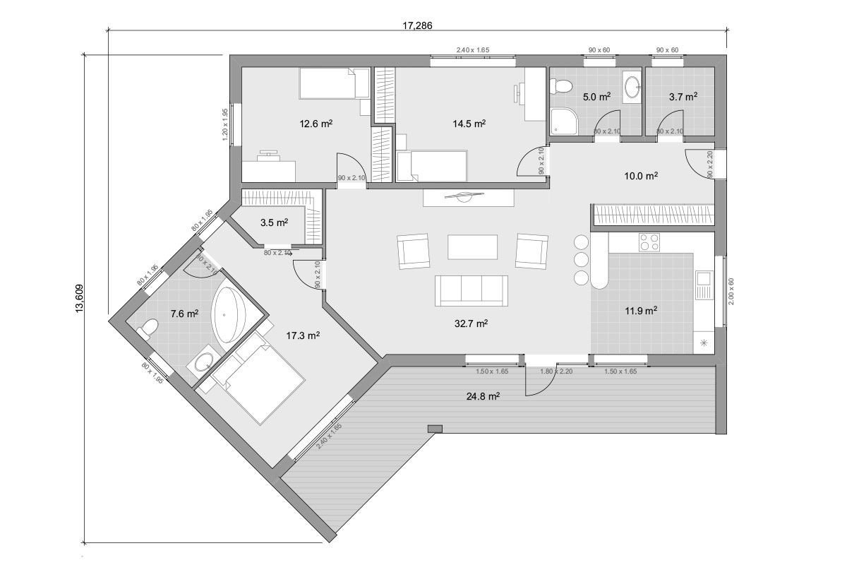 Prefabricated timber frame house design - Bona 140 floor plan